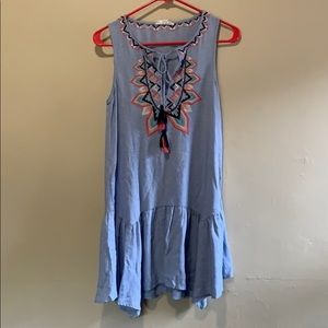 Light Blue & Embroidered THML Dress - Size X-Small